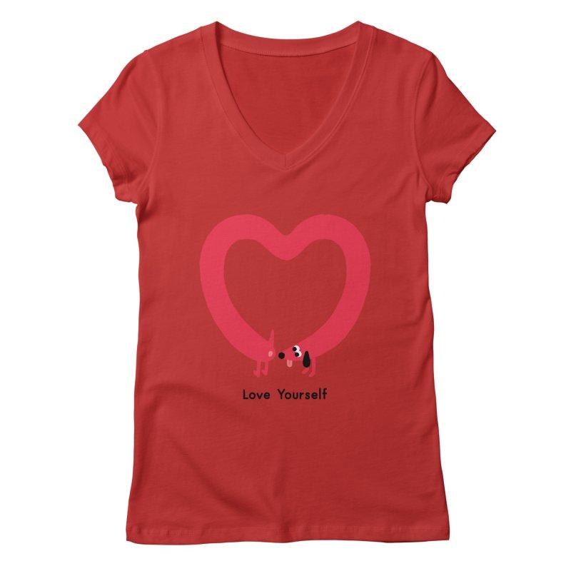 Love Yourself Women's Regular V-Neck by Mauro Gatti House of Fun