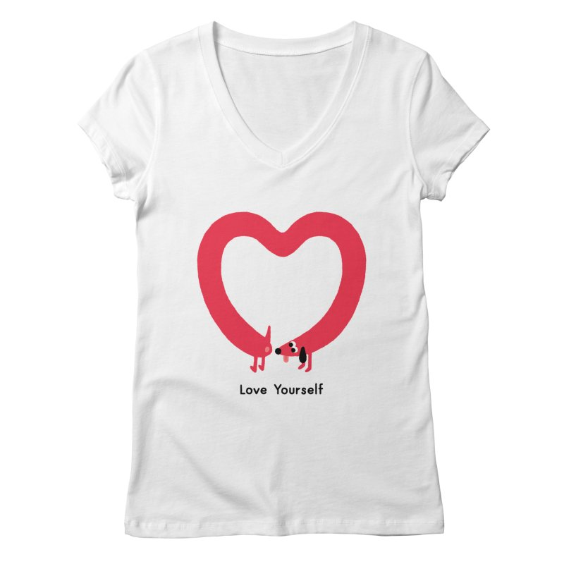 Love Yourself Women's Regular V-Neck by Mauro Gatti House of Fun