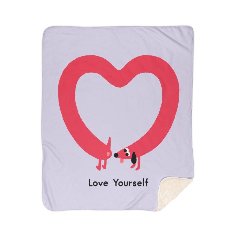 Love Yourself Home Sherpa Blanket Blanket by Mauro Gatti House of Fun