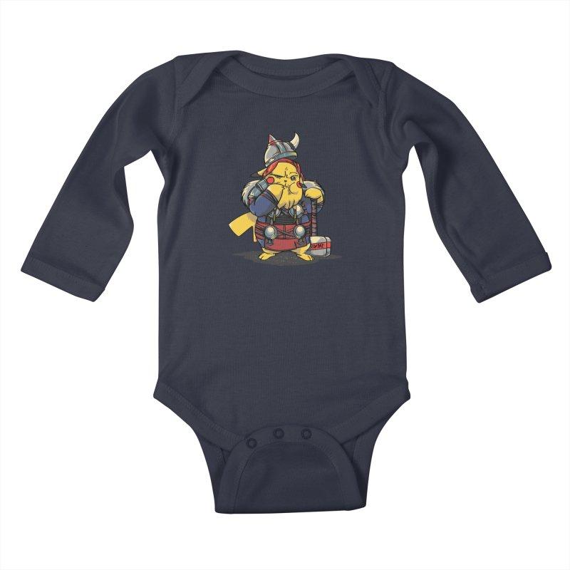 The real God of Thunder Kids Baby Longsleeve Bodysuit by maus ventura's Artist Shop