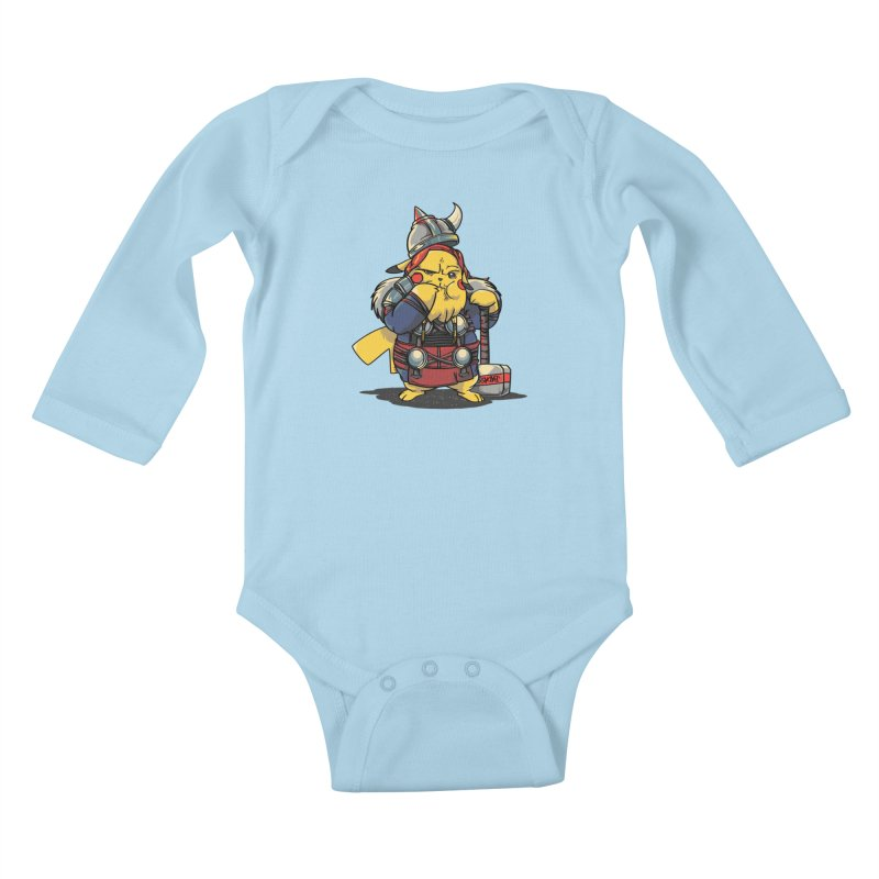 The real God of Thunder Kids Baby Longsleeve Bodysuit by maus ventura's Artist Shop