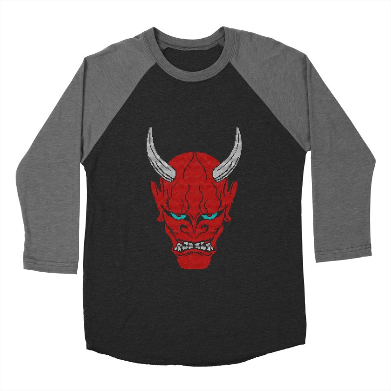 Hannya - Ugly sweater version Men's Baseball Triblend Longsleeve T-Shirt by maus ventura's Artist Shop