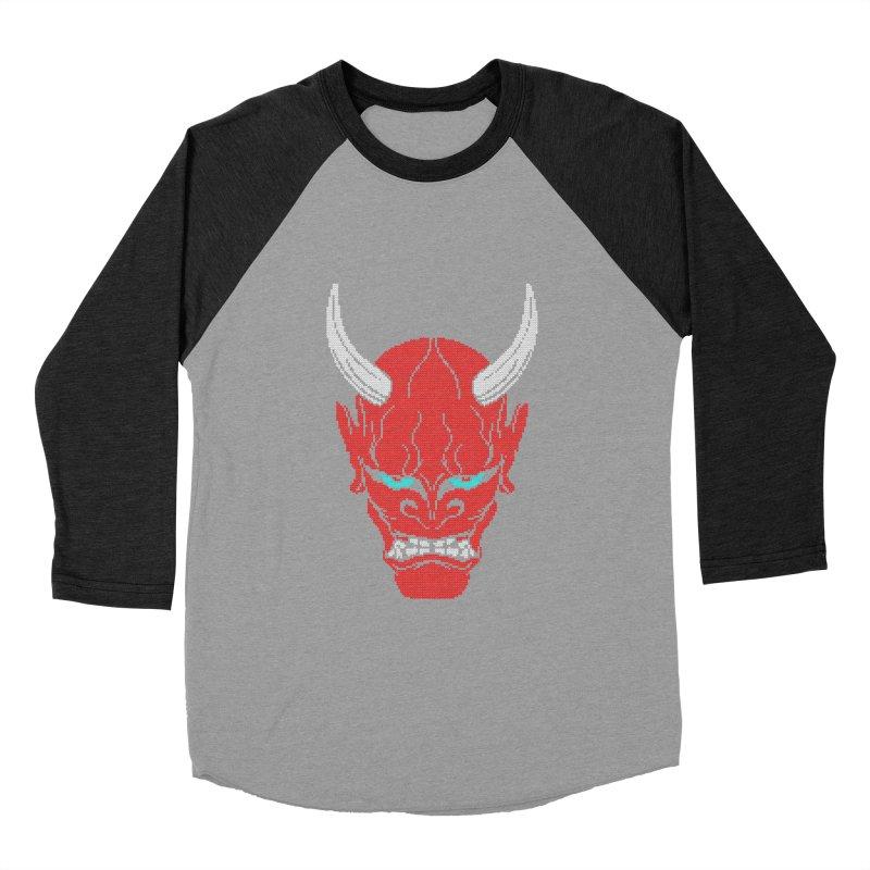 Hannya - Ugly sweater version Men's Baseball Triblend Longsleeve T-Shirt by maus ventura's Artist Shop