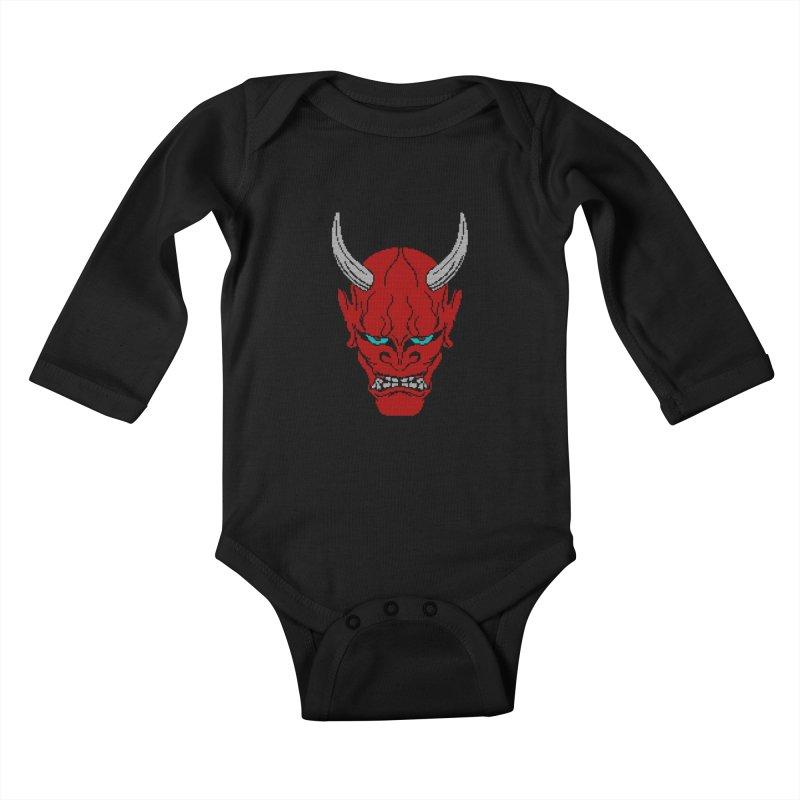 Hannya - Ugly sweater version Kids Baby Longsleeve Bodysuit by maus ventura's Artist Shop