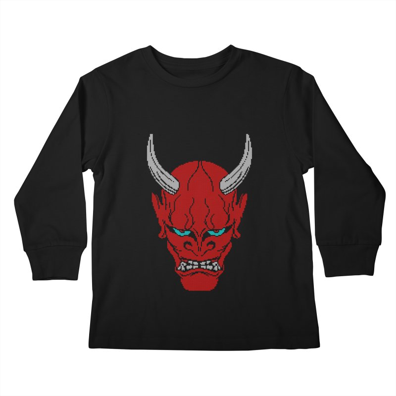 Hannya - Ugly sweater version Kids Longsleeve T-Shirt by maus ventura's Artist Shop