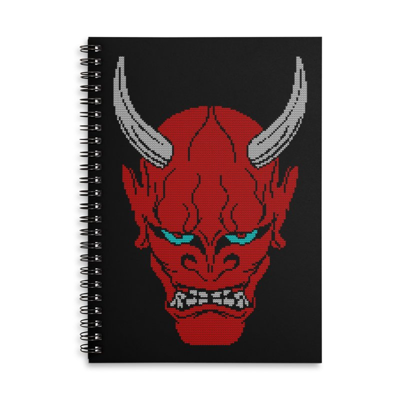 Hannya - Ugly sweater version Accessories Lined Spiral Notebook by maus ventura's Artist Shop