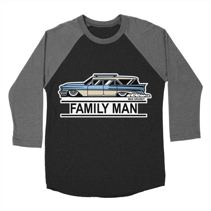 Family Man in Men's Baseball Triblend Longsleeve T-Shirt Grey Triblend Sleeves by Max Grundy Design's Artist Shop