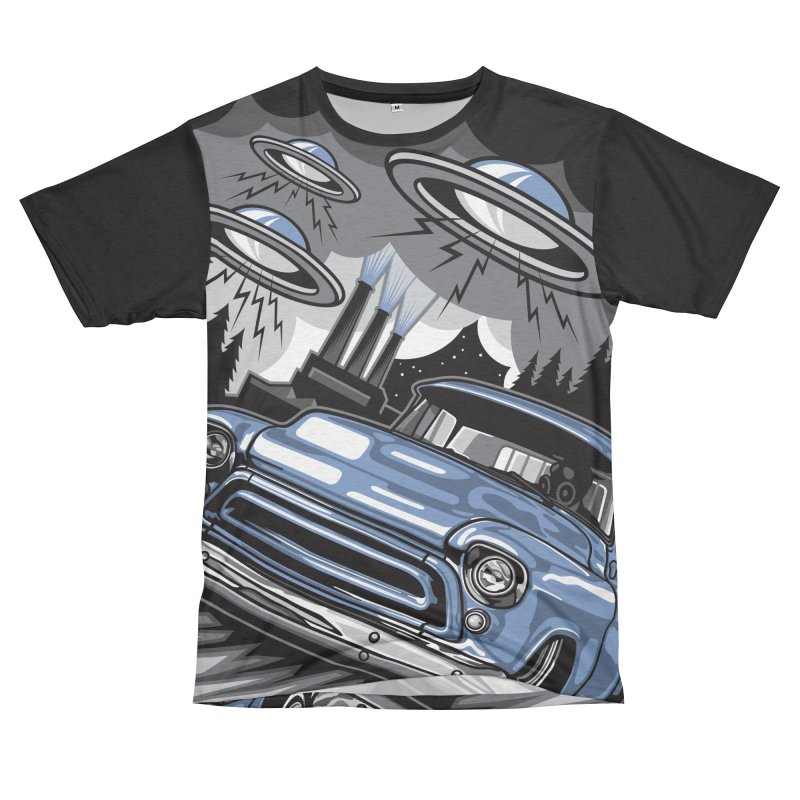 UFO TASK FORCE Women's Unisex French Terry T-Shirt Cut & Sew by Max Grundy Design's Artist Shop
