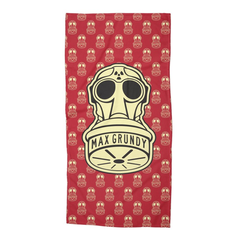 GAS MASK BEACH TOWEL (RED) Accessories Beach Towel by Max Grundy Design's Artist Shop