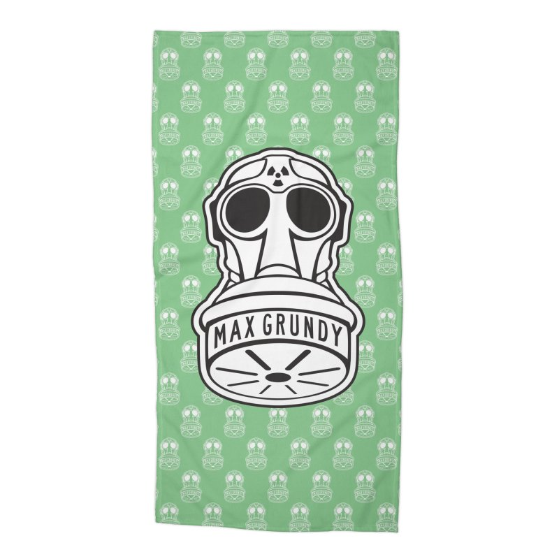 GAS MASK BEACH TOWEL (GREEN) Accessories Beach Towel by Max Grundy Design's Artist Shop