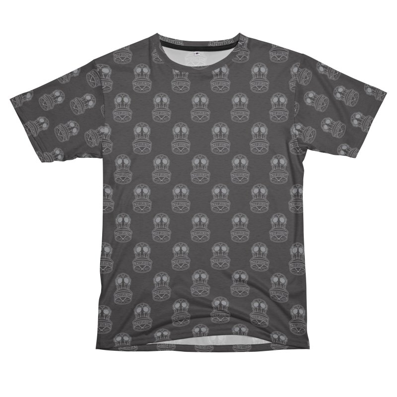 GREY GAS MASK ALL-OVER TEE Women's Unisex French Terry T-Shirt Cut & Sew by Max Grundy Design's Artist Shop