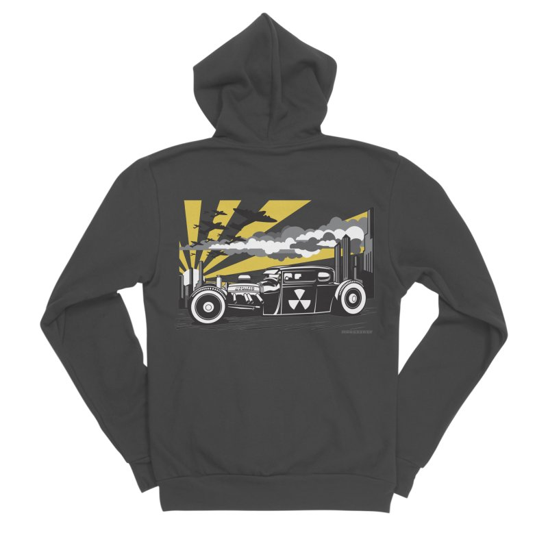 ATOMIC COUPE (yellow) Men's Sponge Fleece Zip-Up Hoody by Max Grundy Design's Artist Shop