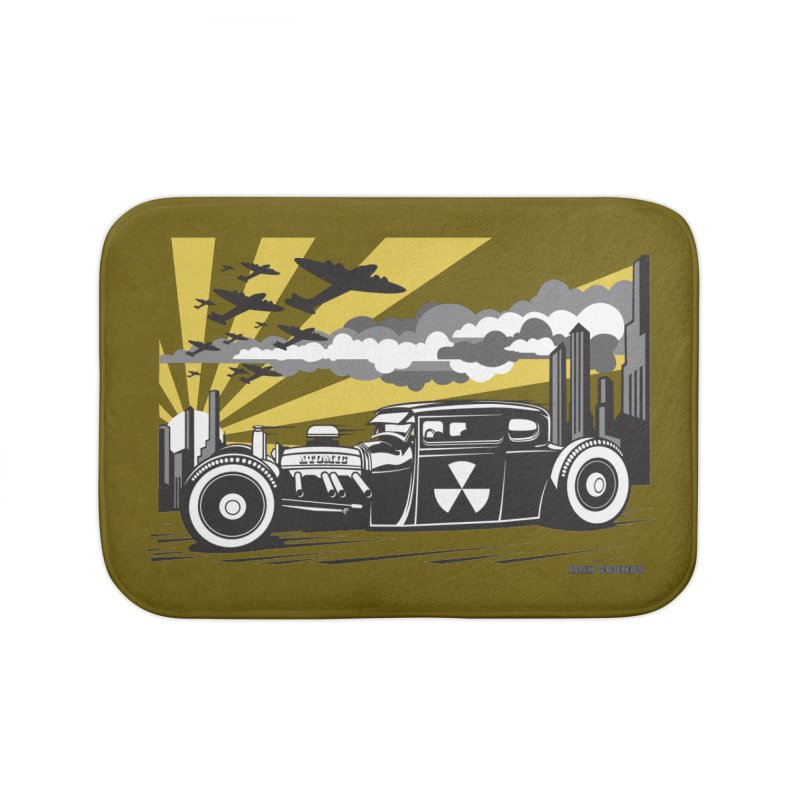 ATOMIC COUPE (yellow) Home Bath Mat by Max Grundy Design's Artist Shop