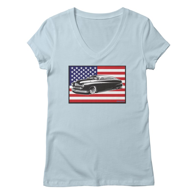 AMERICAN ORIGINAL Women's Regular V-Neck by Max Grundy Design's Artist Shop
