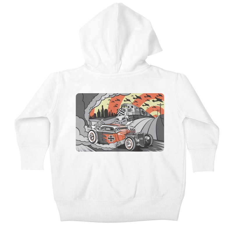 BERLIN BURNOUT Kids Baby Zip-Up Hoody by Max Grundy Design's Artist Shop