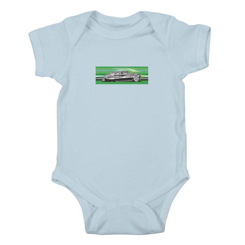 GREEN STREAMLINE 50 Kids Baby Bodysuit by Max Grundy Design's Artist Shop