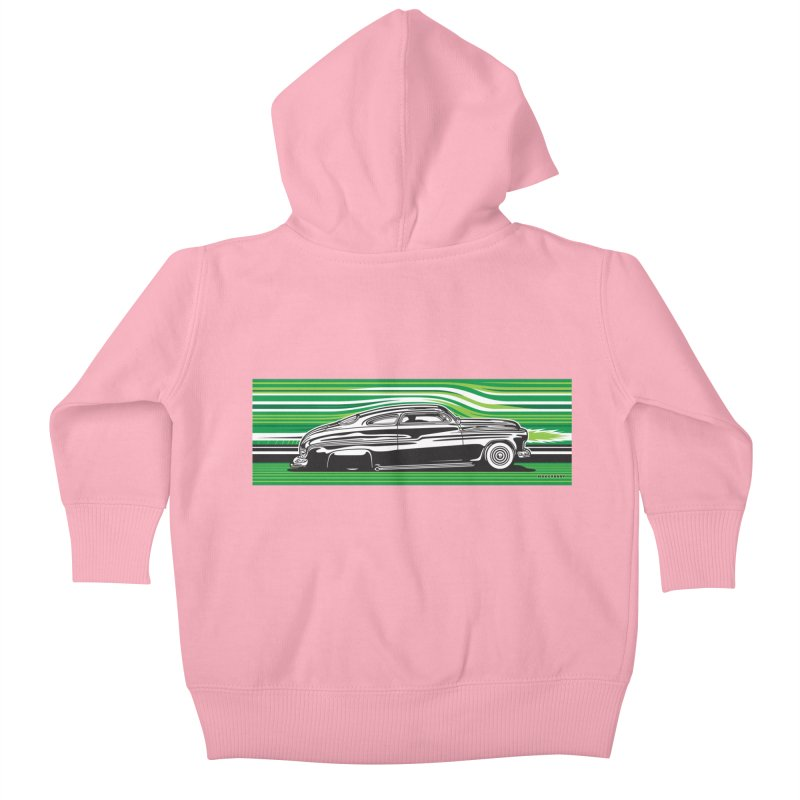 GREEN STREAMLINE 50 Kids Baby Zip-Up Hoody by Max Grundy Design's Artist Shop