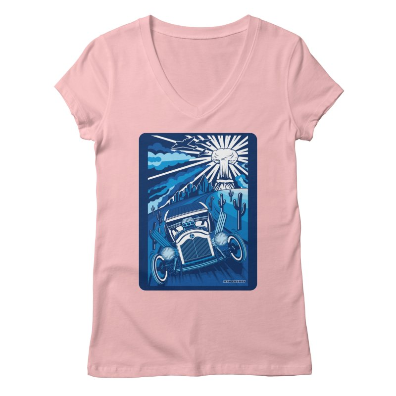 ESCAPE FROM L.A. (blue) Women's Regular V-Neck by Max Grundy Design's Artist Shop