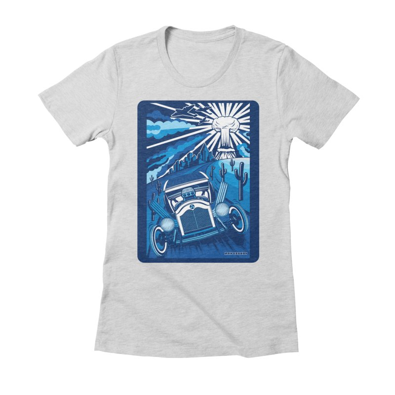 ESCAPE FROM L.A. (blue) Women's Fitted T-Shirt by Max Grundy Design's Artist Shop