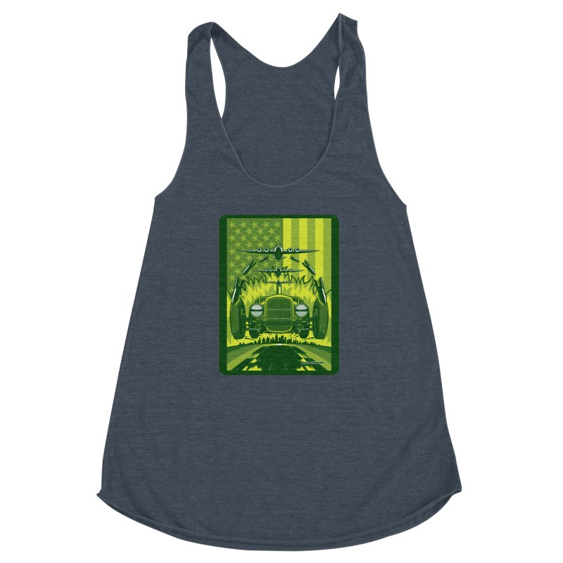 THE GREEN AGENDA (fallout edition) Women's Racerback Triblend Tank by Max Grundy Design's Artist Shop