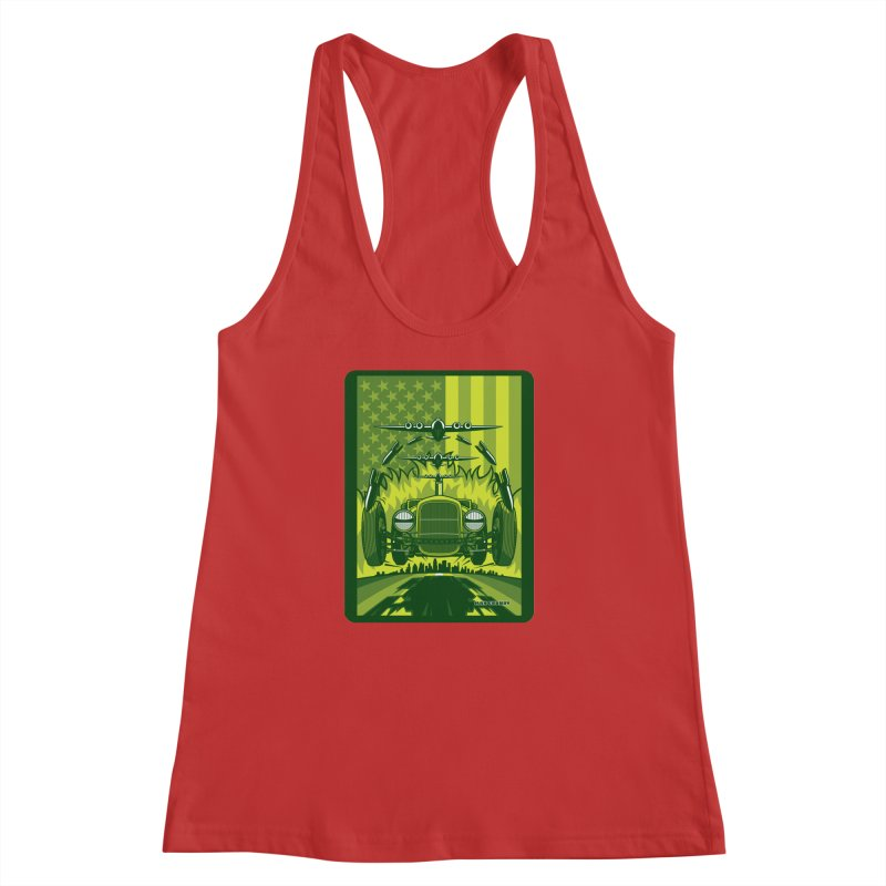 THE GREEN AGENDA (fallout edition) Women's Racerback Tank by Max Grundy Design's Artist Shop