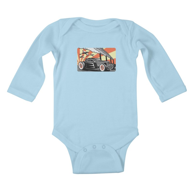 RED DAWN Kids Baby Longsleeve Bodysuit by Max Grundy Design's Artist Shop