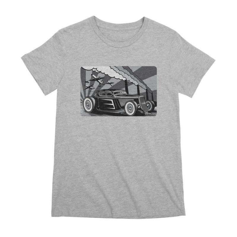 RED DAWN (black & white) Women's Premium T-Shirt by Max Grundy Design's Artist Shop