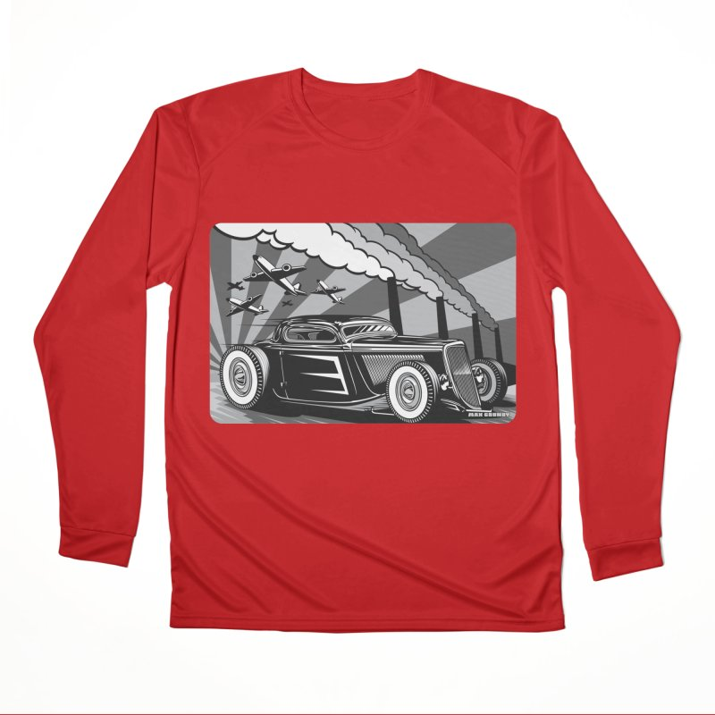RED DAWN (black & white) Women's Performance Unisex Longsleeve T-Shirt by Max Grundy Design's Artist Shop