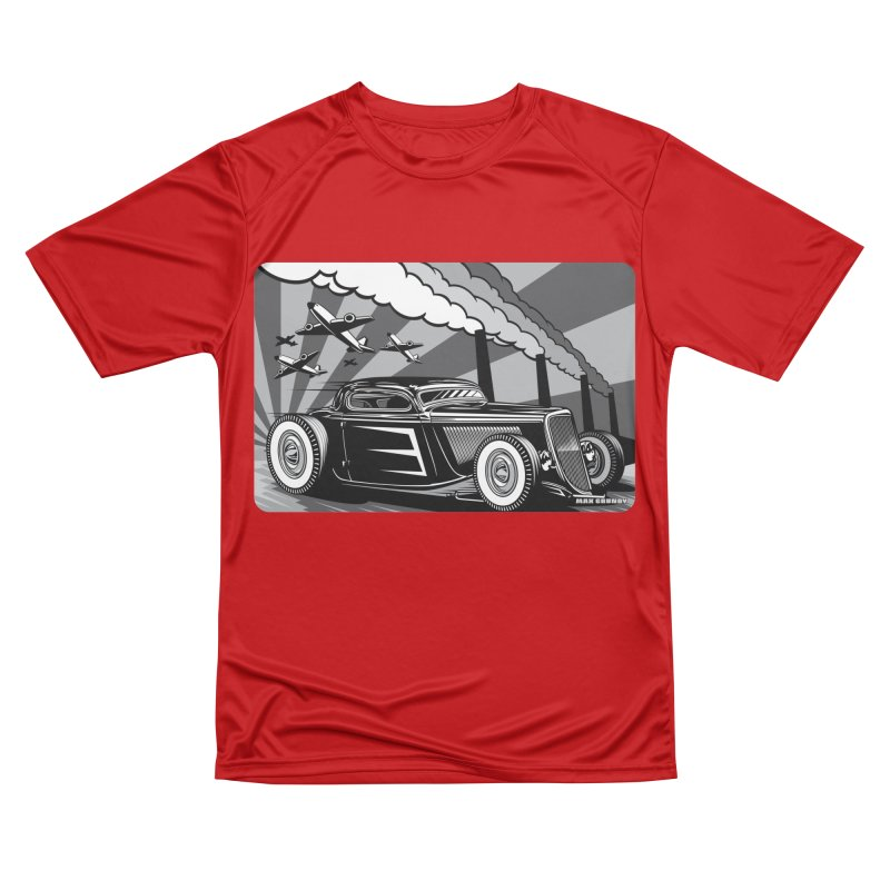 RED DAWN (black & white) Men's Performance T-Shirt by Max Grundy Design's Artist Shop