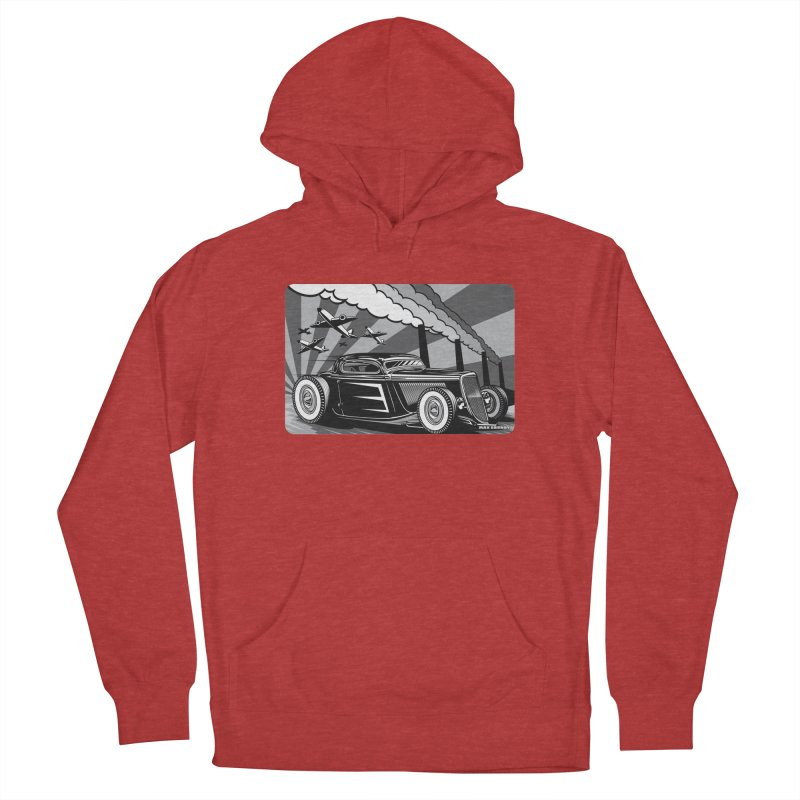 RED DAWN (black & white) Women's French Terry Pullover Hoody by Max Grundy Design's Artist Shop