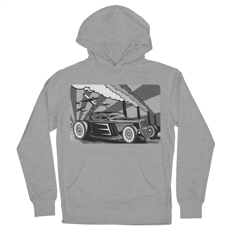 RED DAWN (black & white) Men's French Terry Pullover Hoody by Max Grundy Design's Artist Shop