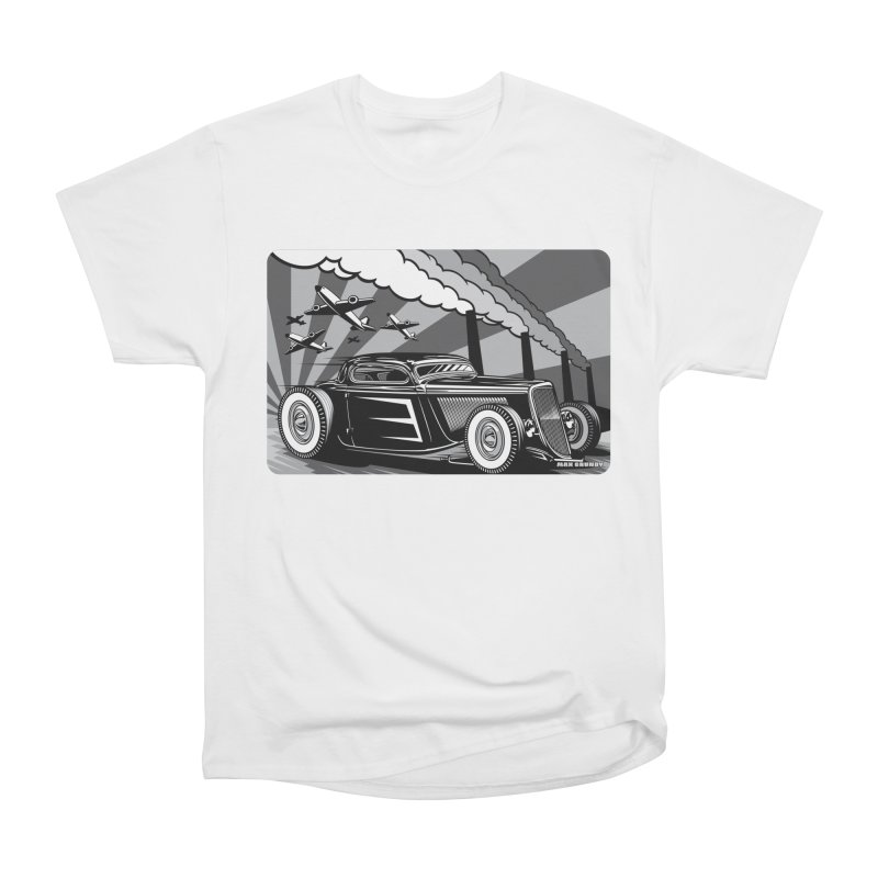 RED DAWN (black & white) Men's Heavyweight T-Shirt by Max Grundy Design's Artist Shop
