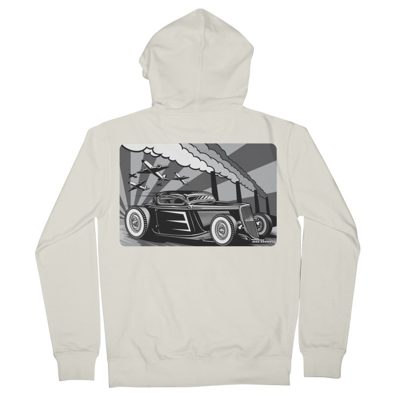 RED DAWN (black & white) Men's French Terry Zip-Up Hoody by Max Grundy Design's Artist Shop