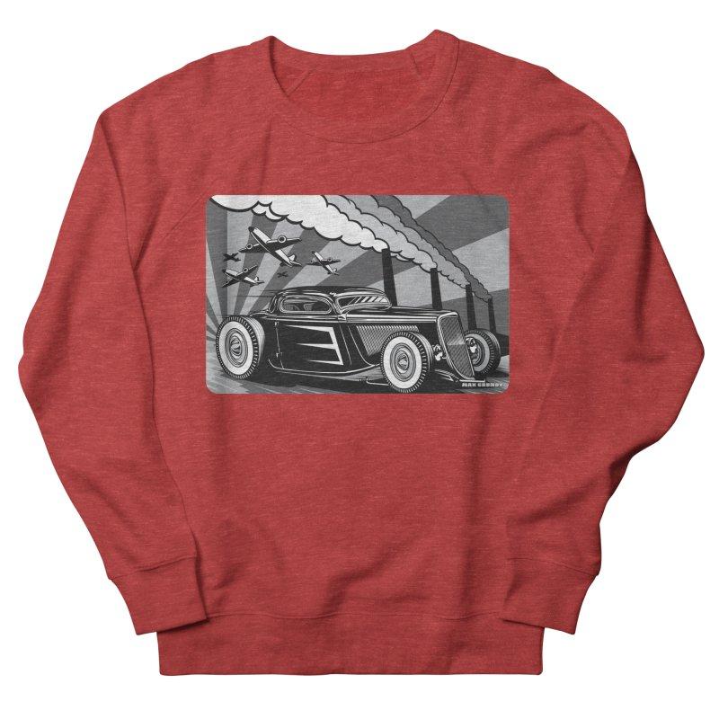 RED DAWN (black & white) Men's French Terry Sweatshirt by Max Grundy Design's Artist Shop