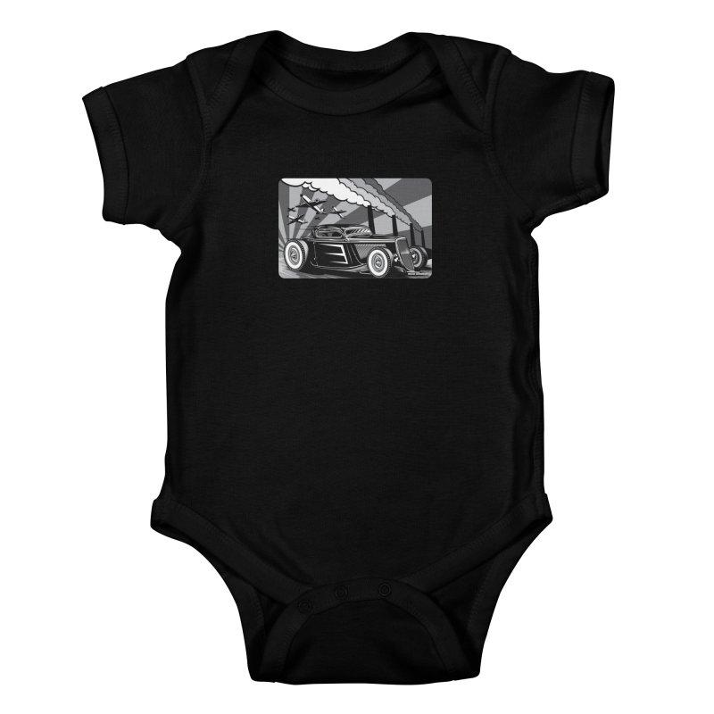 RED DAWN (black & white) Kids Baby Bodysuit by Max Grundy Design's Artist Shop