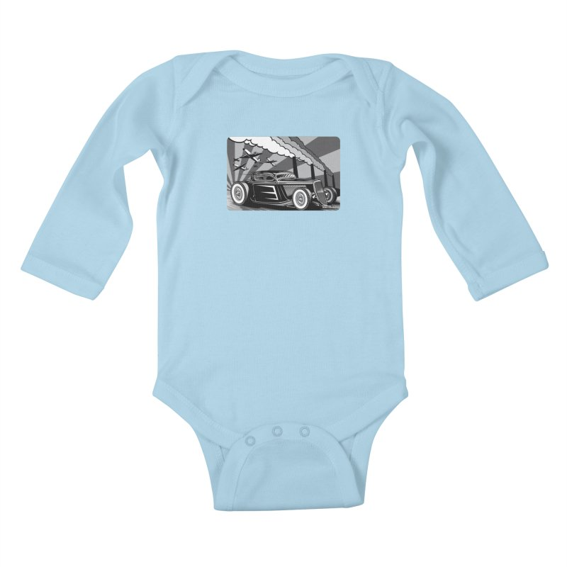 RED DAWN (black & white) Kids Baby Longsleeve Bodysuit by Max Grundy Design's Artist Shop