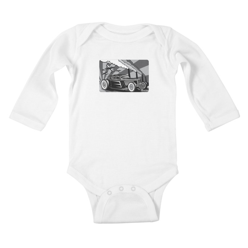 RED DAWN (black & white) Kids Baby Longsleeve Bodysuit by Max Grundy Design's Artist Shop