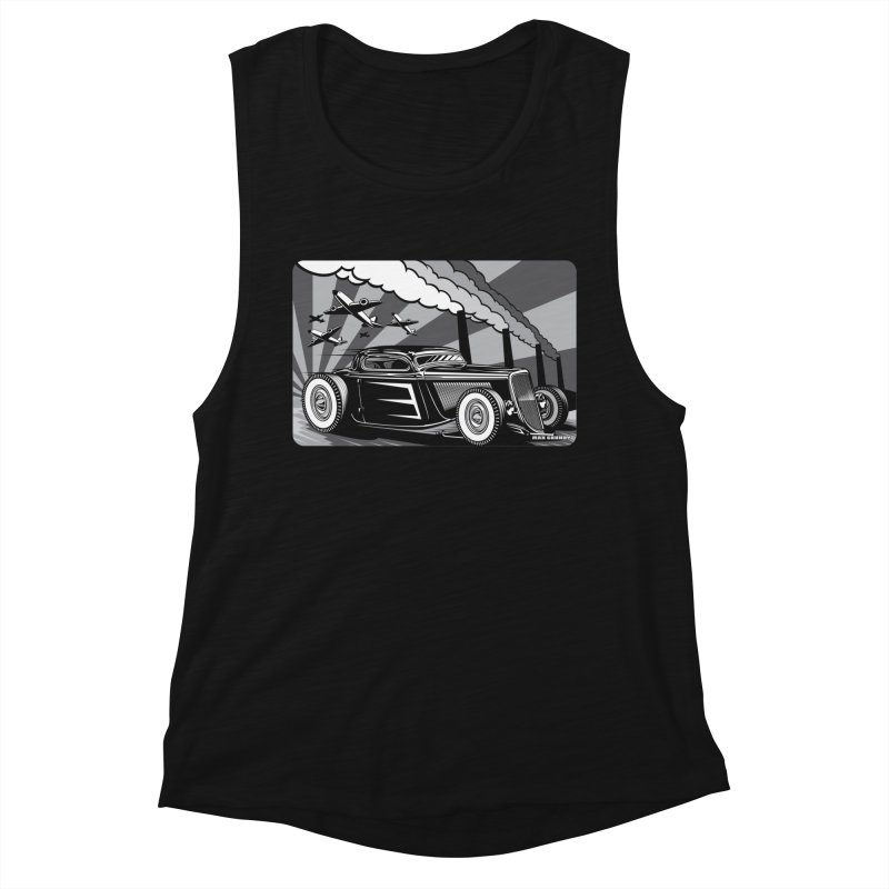 RED DAWN (black & white) Women's Muscle Tank by Max Grundy Design's Artist Shop