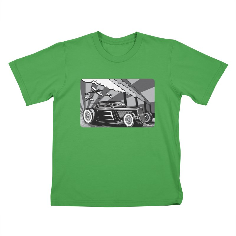 RED DAWN (black & white) Kids T-Shirt by Max Grundy Design's Artist Shop