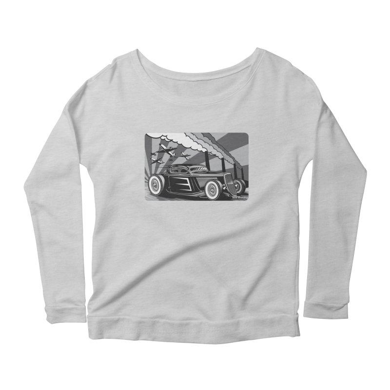 RED DAWN (black & white) Women's Scoop Neck Longsleeve T-Shirt by Max Grundy Design's Artist Shop