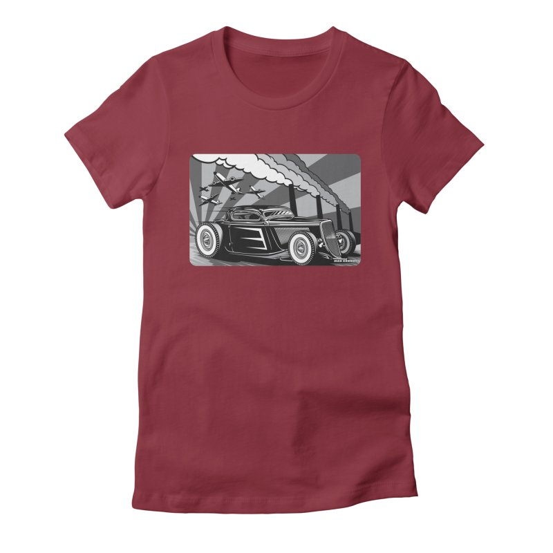 RED DAWN (black & white) Women's Fitted T-Shirt by Max Grundy Design's Artist Shop