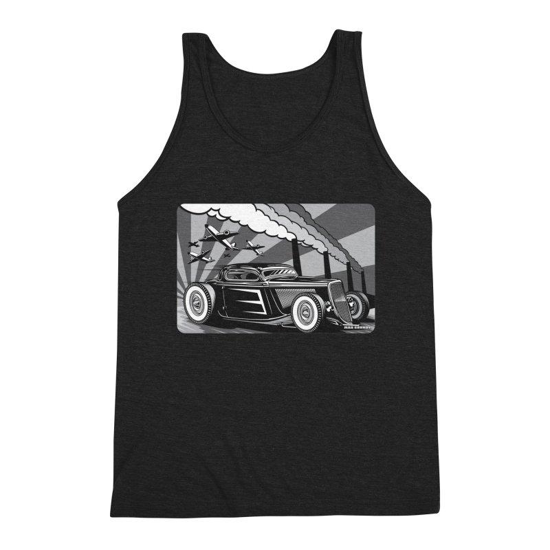 RED DAWN (black & white) Men's Triblend Tank by Max Grundy Design's Artist Shop