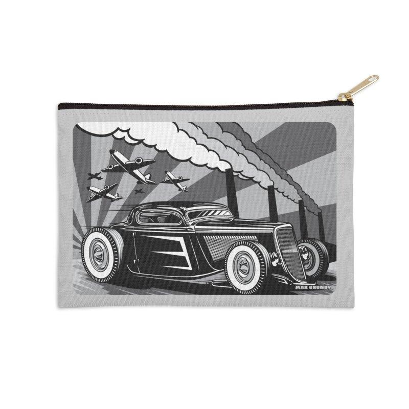 RED DAWN (black & white) Accessories Zip Pouch by Max Grundy Design's Artist Shop