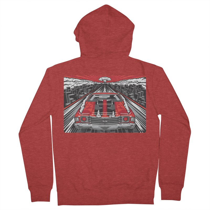RED THREAT Men's French Terry Zip-Up Hoody by Max Grundy Design's Artist Shop