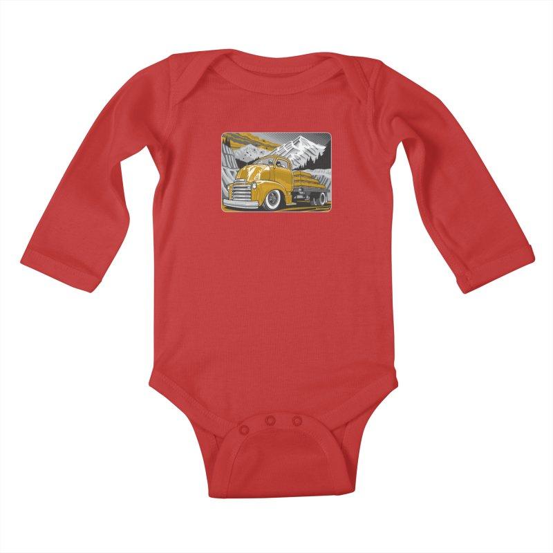 MOUNTAIN HARVEST Kids Baby Longsleeve Bodysuit by Max Grundy Design's Artist Shop