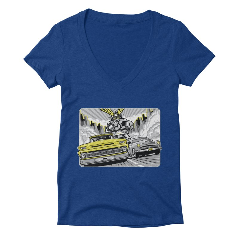 DRIVEN Women's Deep V-Neck V-Neck by Max Grundy Design's Artist Shop