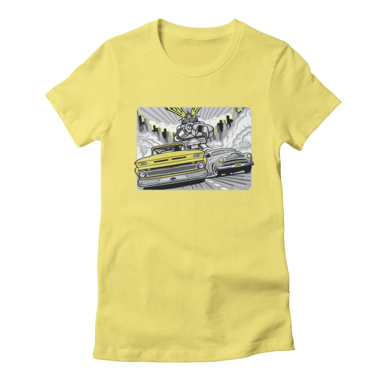 DRIVEN in Women's Fitted T-Shirt Light Yellow by Max Grundy Design's Artist Shop