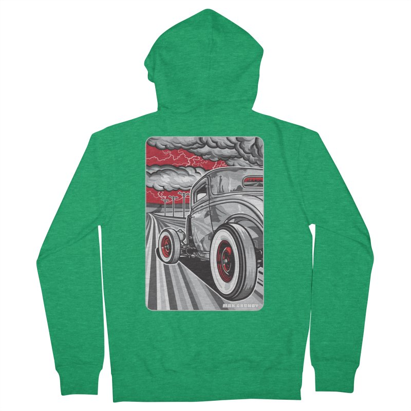 LIGHTNING ROD Men's French Terry Zip-Up Hoody by Max Grundy Design's Artist Shop