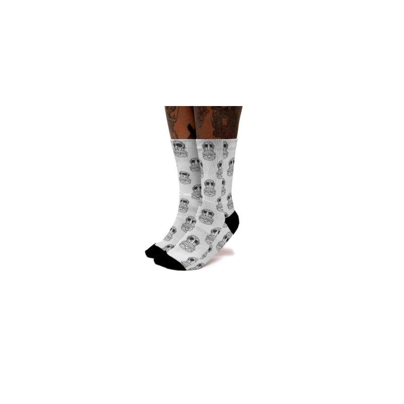 BLACK on WHITE GASMASK socks Men's Socks by Max Grundy Design's Artist Shop