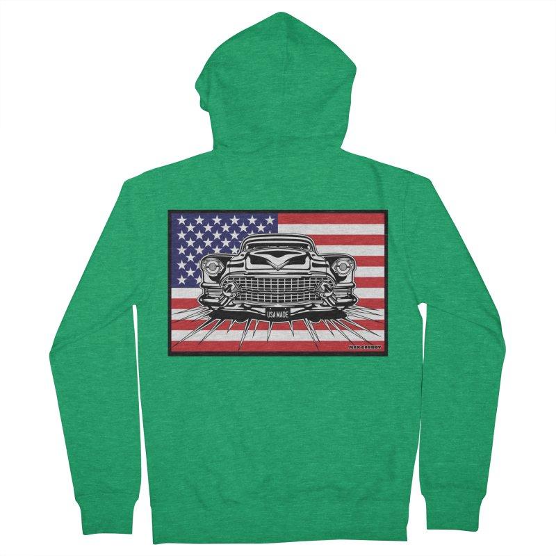 USA MADE (color) t-shirt (men, women, kids) Men's Zip-Up Hoody by Max Grundy Design's Artist Shop